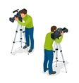 Video camera operator working with his vector image
