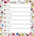 Weekly Plan vector image