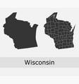 wisconsin map counties outline vector image