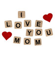 wooden blocks spelling the inscription i love you vector image vector image