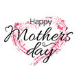 happy mothers day card with grunge heart and vector image