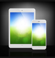 white business phone and tablet on dark background vector image