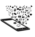 black mobile phone and icons vector image