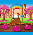 happy children playing in candy land vector image