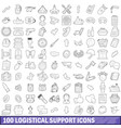 100 logistical support icons set outline style vector image