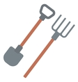 Agricultural shovel and pitchfork vector image vector image