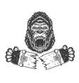 angry gorilla holding broken skateboard vector image vector image