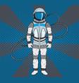 astronaut in pop art style cosmonaut on blue vector image vector image