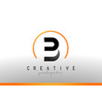 b letter logo design with black orange color cool vector image vector image