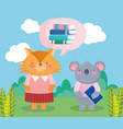 back to school fox koala books with notepad vector image vector image