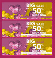 banner big sale text promo in valentine day with vector image