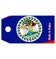 belize flag on price tag vector image vector image