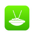 bowl of rice with chopsticks icon digital green vector image vector image
