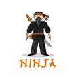 cartoon young ninja vector image vector image