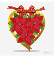 Christmas decoration poinsettia with red ribbon vector image vector image