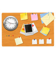 clock office supplies on the desk vector image vector image