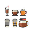 coffee icons - flat coffee icons vector image vector image