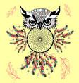 color cute decorative ornamental owl fall in love vector image vector image