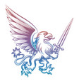 colorful heraldy griffon with sword vector image vector image