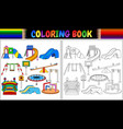 coloring book with playground equipment icons set vector image vector image