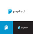 electronic payment symbol blue hexagon shape vector image vector image