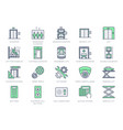 elevator line icons included vector image