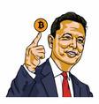 elon musk holding bitcoin cartoon portrait vector image