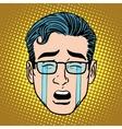 Emoji crying sadness man face icon symbol vector image