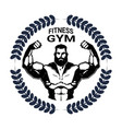 fitness gym emblem with strong athletic man vector image vector image