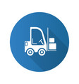 forklift flat design long shadow glyph icon vector image