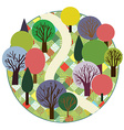 Garden or forest cute round card vector image vector image