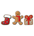 gingerman present santa boot gingerbread cookies vector image vector image