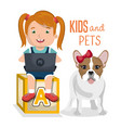 girl with dog and laptop computer character vector image vector image