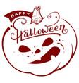 happy halloween text pumpkin lantern greeting vector image