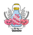 hearts couple and bottle with to valentines vector image vector image