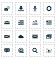 internet icons set with group download live vector image