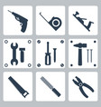 isolated tools icons set vector image vector image