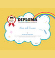 kids diploma or certificate template with yellow vector image vector image