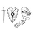 knight armour set sketch engraving vector image vector image