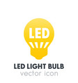 led light bulb icon pictogram over white vector image vector image