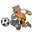 leopard football mascot vector image vector image