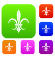 lily heraldic emblem set collection vector image vector image