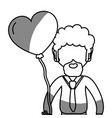line man with beard and heart balloon in the hand vector image vector image