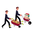 men businessmen pushing wheelbarrows one with vector image vector image