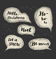 merry christmas lettering set with greetings vector image