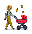 mother with baby in stroller young stylish woman vector image vector image