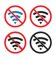 no wi-fi signal sign no wifi area vector image