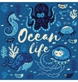Ocean life Lovely card with cute animals in vector image vector image