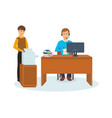office worker talks on microphone vector image vector image