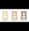 real wood round chair set on white background vector image